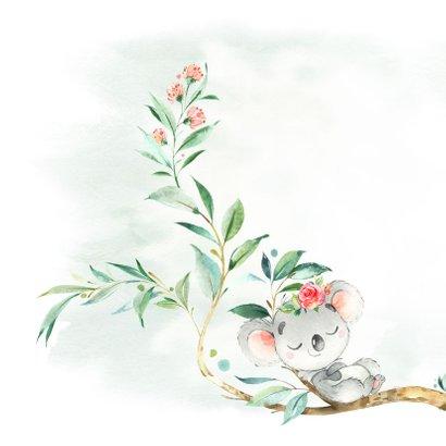 Geboortekaart meisje koala met bloem 2