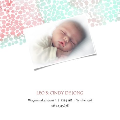 Geboortekaart meisje met dierenprint roze-groen 2