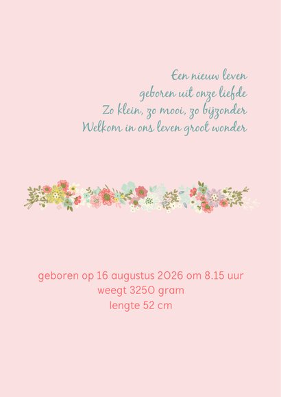 Geboortekaart meisje met konijn, ballon en bloemen 2