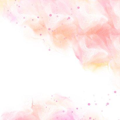 Geboortekaart meisje waterverf met druppels Achterkant