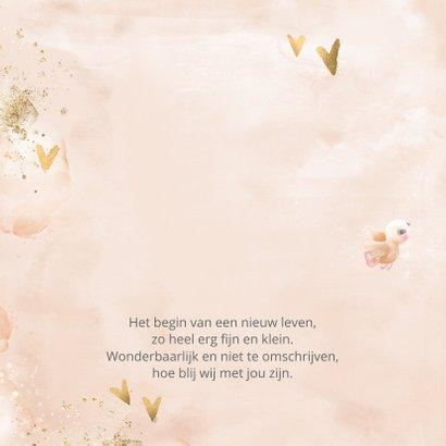 Geboortekaart meisje zalm-roze met gouden hartjes 2