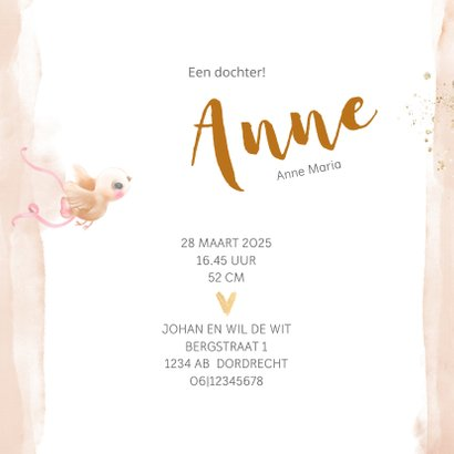 Geboortekaart meisje zalm-roze met gouden hartjes 3