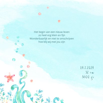 Geboortekaart met een slapende zeemeermin in waterverf look 2
