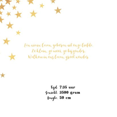 Geboortekaart met goudkleurige sterren en een hartje 2