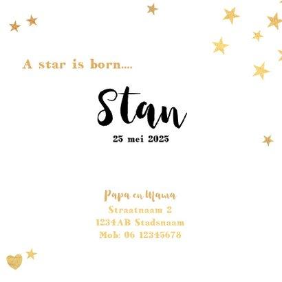 Geboortekaart met goudkleurige sterren en een hartje 3