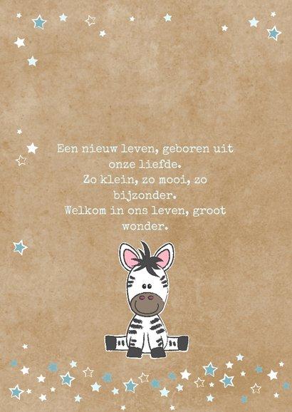 Geboortekaart met lieve zebra kraft-stijl 2