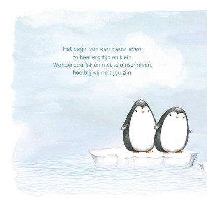 Geboortekaart met pinguin op ijsschots 2