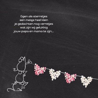 Geboortekaart muisjes roze hart 2