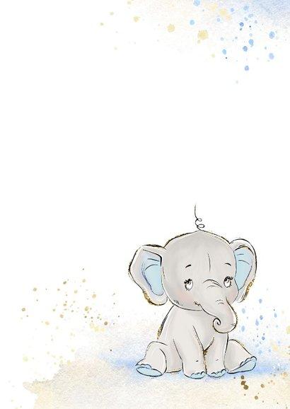 Geboortekaart olifant grijs-blauw jongen 2