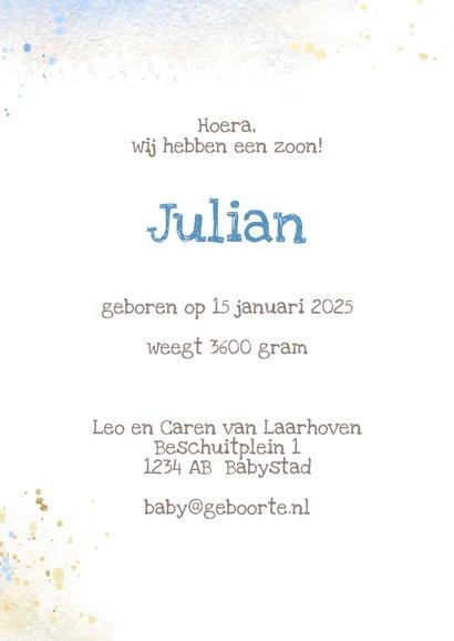 Geboortekaart olifant grijs-blauw jongen 3
