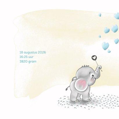 Geboortekaart olifantje blauw bellenblaas 2