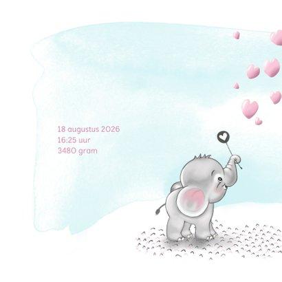 Geboortekaart olifantje roze bellenblaas 2