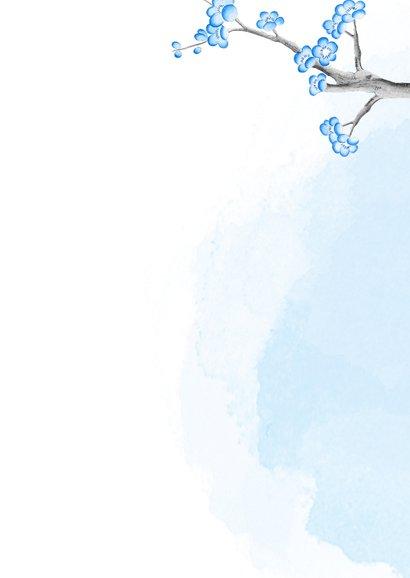 Geboortekaart panda met kersenbloesem -jongen- Achterkant