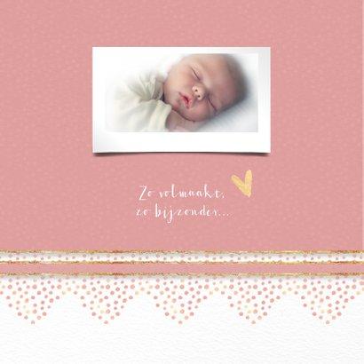 Geboortekaart roze met rand dierenprint 2