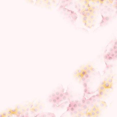 Geboortekaart roze/zalm met stippen en eigen foto Achterkant