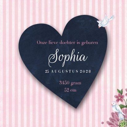 Geboortekaart Schoolbord bloemen 3