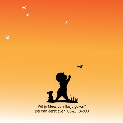 Geboortekaart silhouet vliegtuigje gooien 2