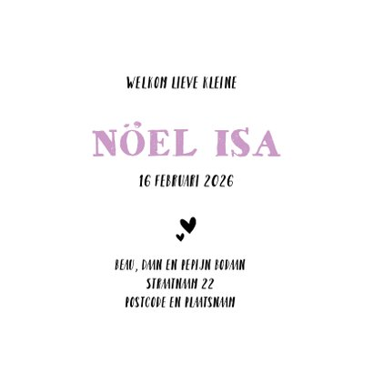 Geboortekaart stoere roze print 3