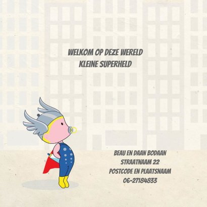 Geboortekaart superheld boy 2