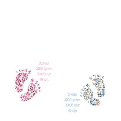 Geboortekaart tweeling kleine voetjes 2