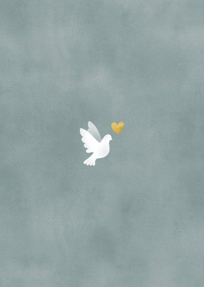 Geboortekaart voor een jongen met duif waterverf en spetters Achterkant