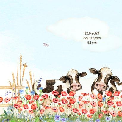 Geboortekaart vrolijke bloemenweide met koeien 2