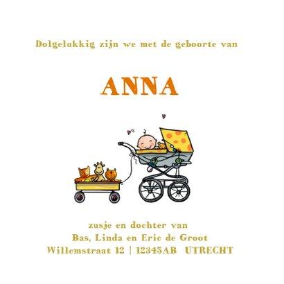 Geboortekaart VW bus zusje en baby klant 3