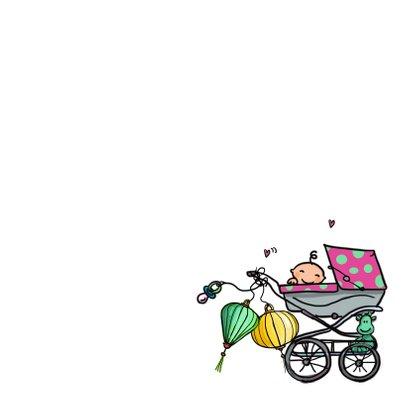 Geboortekaart vw busje roze klant 3