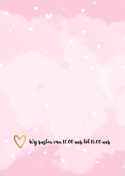 Geboortekaart waterverf kies je eigen kleur roze 2