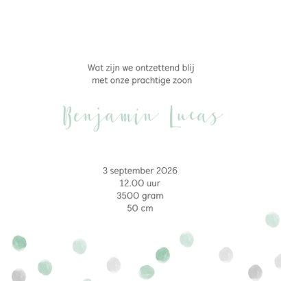 Geboortekaart waterverf stippen mint - BC 3