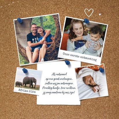 Geboortekaartje adoptie wereldkaart kurk collage hartjes 3