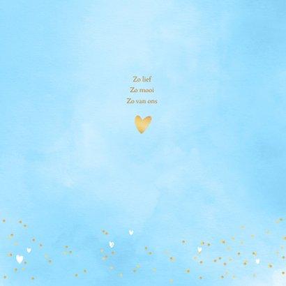 Geboortekaartje aquarel hartjes foto blauw 2