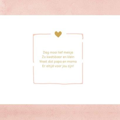 Geboortekaartje aquarel roze hartjes eigen foto 2