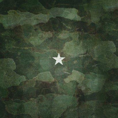 Geboortekaartje army stoer met foto en legerplaatje Achterkant