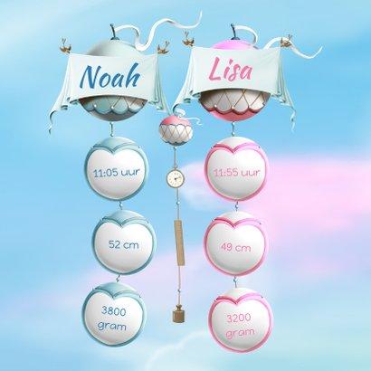 Geboortekaartje ballonnen met wiegjes tweeling jongen meisje 2