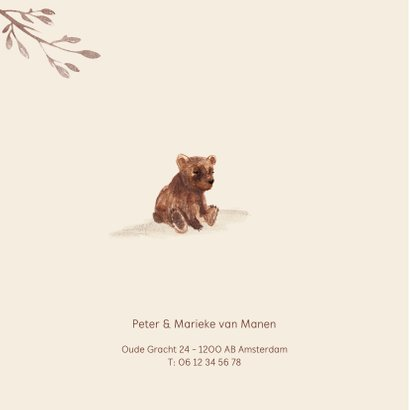 Geboortekaartje beer met kleine beer en takjes 2