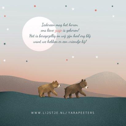 Geboortekaartje beren zusje broertje familie sterren maan 2