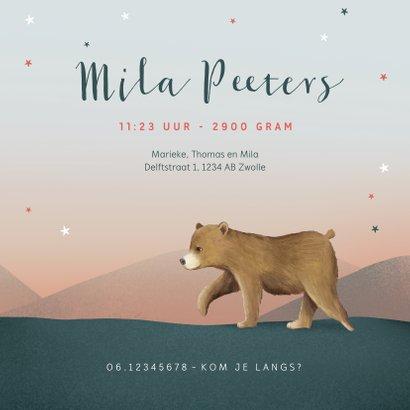 Geboortekaartje berenfamilie illustratie meisje sterren maan 3