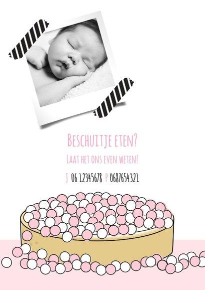 Geboortekaartje beschuit met muisjes roze 2