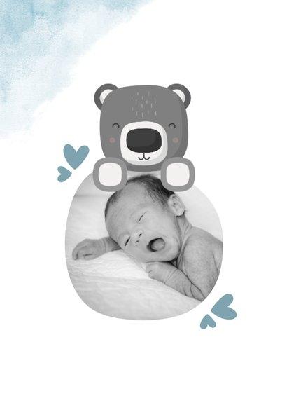 Geboortekaartje blauw met foto, beer en waterverf 2