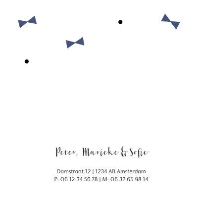 Geboortekaartje blauwe strikjes 2