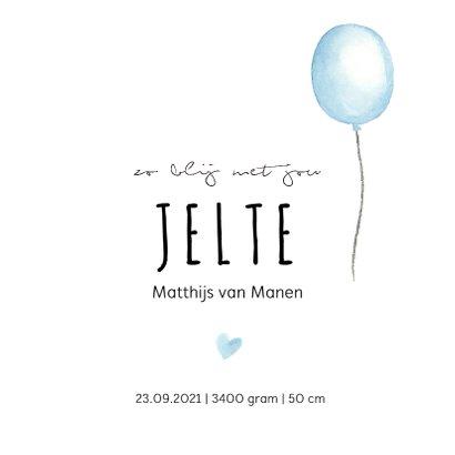 Geboortekaartje blauwe waterverf ballon met hartjes 3