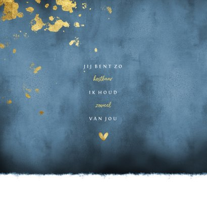 Geboortekaartje blauwe waterverf gouden spetters 2
