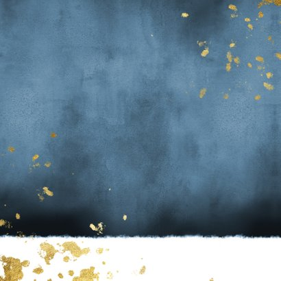Geboortekaartje blauwe waterverf gouden spetters Achterkant