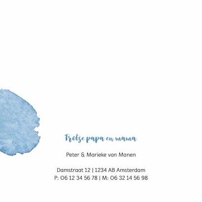 Geboortekaartje blauwe waterverf 2