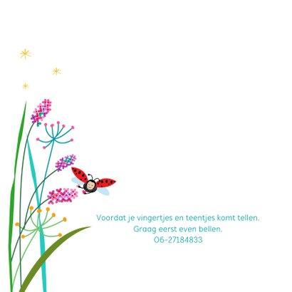 Geboortekaartje bloemen met lieveheersbeestje 2