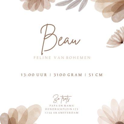 Geboortekaartje bohemian bloemen 3