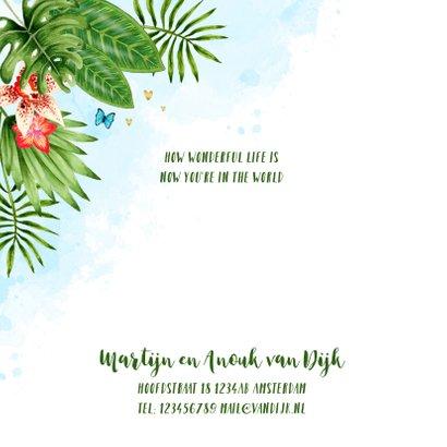 Geboortekaartje botanical jungle hartjes jongen 2