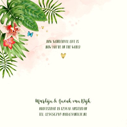Geboortekaartje botanical jungle hartjes meisje 2