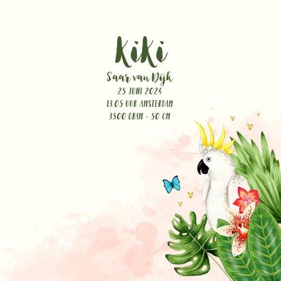 Geboortekaartje botanical jungle hartjes meisje 3